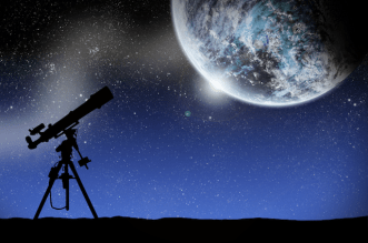 Telescope and Moon Night Sky